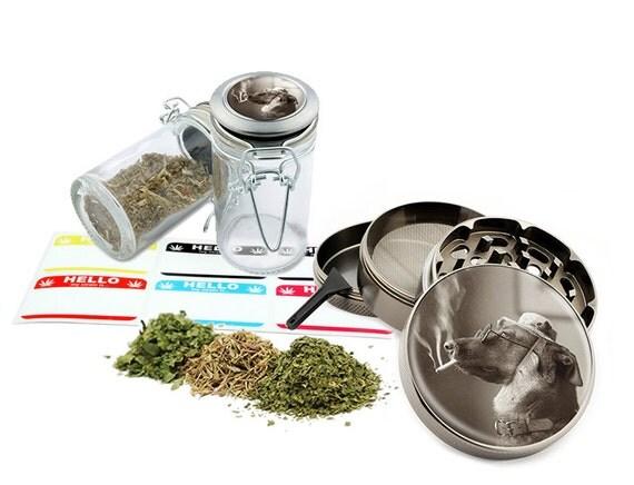 "Smoking Dog - 2.5"" Zinc Alloy Grinder & 75ml Locking Top Glass Jar Combo Gift Set Item # G021615-025"