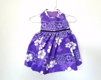Purple Hawaiian Print Dress for Cats or Small Dogs