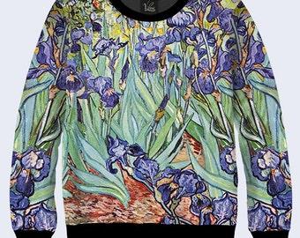 Irises By Vincent Van Gogh - Men's Women's Sweatshirt | Sweater - XS, S, M, L, XL, 2XL, 3XL, 4XL, 5XL