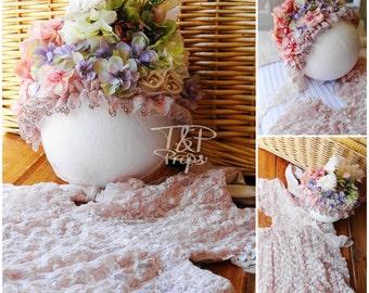 Lace Romper & Floral Bonnet