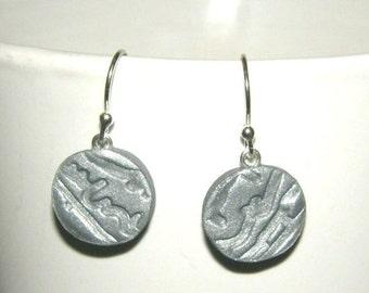 Handmade Silver Polymer Clay Earrings