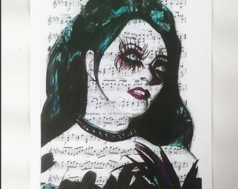 "Repo the Genetic Opera Art: Blind Mag Color Pencil on Sheet Music These Eyes Can Do More Than See - 8.5x11"" Print- Dark Goth Horror"