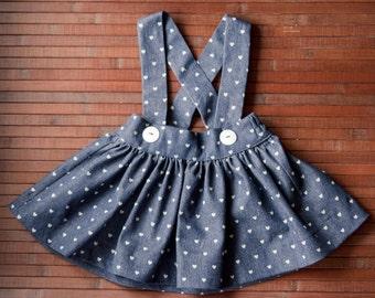 Girls Skirt with Suspenders. Denim Heart