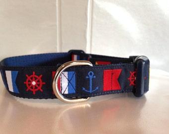 Nautical Flag Dog Collar