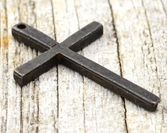 2 Cross Pendant, Rustic Cross Charm, Brown Cross for Jewelry, Crucifix, Men's Necklace, Cross for Jewelry Making, Carson's Cove, CarsonsCove