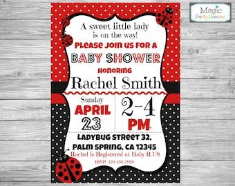 Ladybug baby shower invitation, ladybug baby shower invite, printable invitation, baby girl shower invitation, polka dot invitation