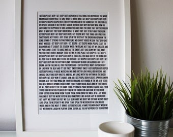 Song For Shelter - Fat Boy Slim - Typographic Unframed Song Lyric Print