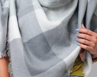 Gray Blanket Scarf for Women Colour Block Women's Zara Tartan Inspired Oversized Large Winter Scarves Gifts Trendy Fashion Gifts for Women