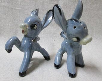 Pair of Vintage Prancing Donkey Salt and Pepper Shakers...too Cute