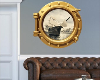 Port Scape Pirate Ship In A Bottle Porthole Wall Sticker