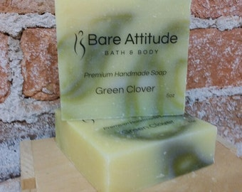 Green Clover Olive Oil Soap Bar (Vegan, Palm Free)