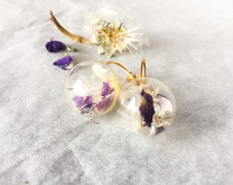 Earrings with purple wildflowers &