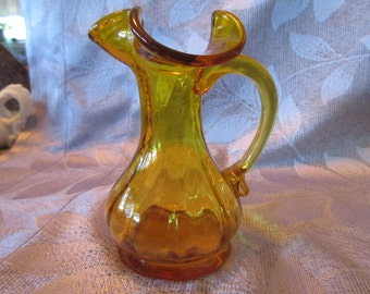 Amber Glass Vase with Handle - Vintage