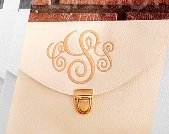 Monogram Clutch Purse Brides, Maid of Honor, Bridesmaids, Sorority Sisters Custom Embroidered Gifts