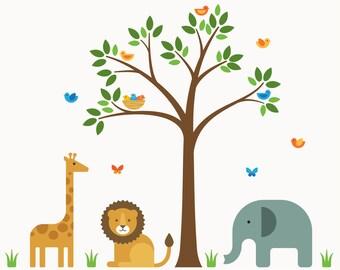 Decals Animals Nursery, Animals Nursery, Decals Zoo Nursery - Large