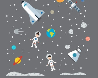 Space Explorer Wall Decals, Space Explorer, Space Wall Decals - X-Large
