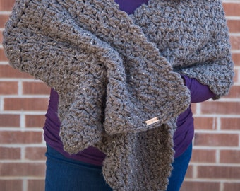 Chunky Cozy Crochet Shawl / Wrap / Afghan / Lap Blanket
