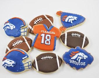 Denver Broncos Cookies - 1/2 Dozen - superbowl 2016 - cute decorated sugar cookies - American Football - Colorado - party - game day
