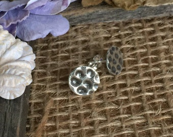 Antiqued Hammered Silver Studs Small