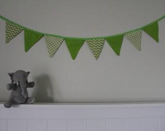 Fabric Bunting Green Chevron