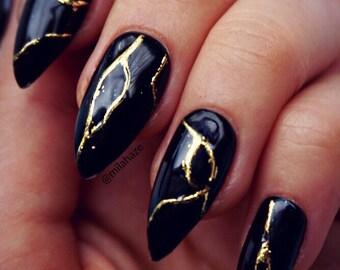 BLACK KINTSUGI Luxury Press On Nails