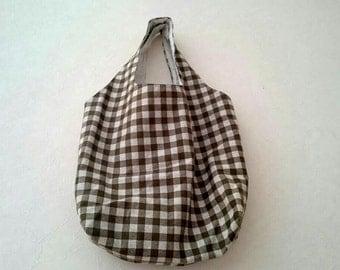 Brown check bag