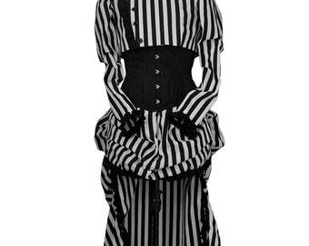 Black white stripe victorian steampunk jacket corset and skirt - Dark cabaret - Circus