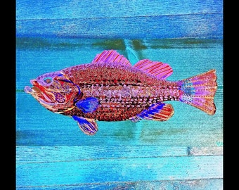 LARGEMOUTH BASS Colorful Fishing Fish Cabin Lodge Home Decor Abstract Art Print Scott D Van Osdol 11x17 Poster Of My Original Ready To Frame