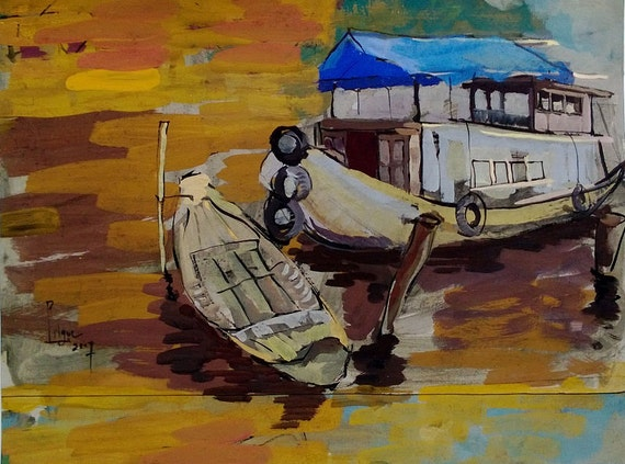 "WOODEN BOATS 16X20"" gouache on paper, live painting, Mekong Delta (Cần Thơ Province), original by Nguyen Ly Phuong Ngoc"