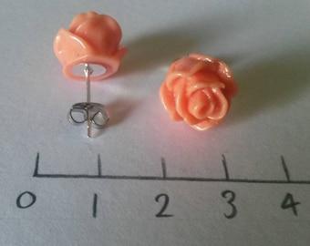 Orange Rose Stud Earrings