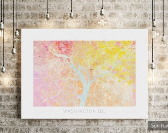 Washington Map - City Street Map of Washington  D.C. - Art Print Watercolor Illustration Wall Art Home Decor Gift  Embossed PRINT