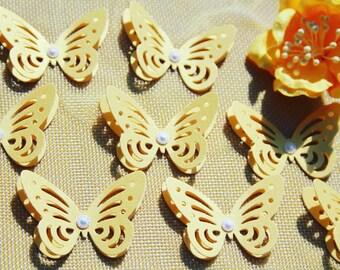 Matt Gold Butterflies/ Paper Butterflies/ Butterflies DIE CUT/ Paper confetti/ Butterflies for scrapbooking/ Party décor/Wedding décor/