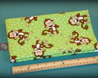 2 Yards Novelty Cotton Fabric Laughing Monkey Green NEW
