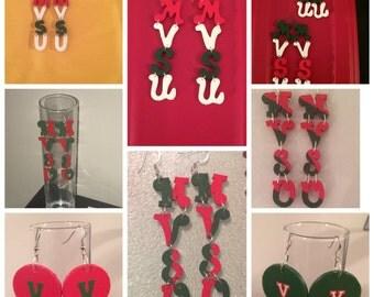 Wood letter Earrings