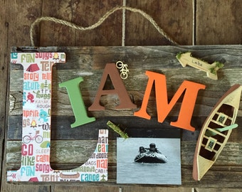 Custom Barnwood 7+ LetterName Plaque-Personalized Wood Sign-Baby Name Sign-Baby Gift-Picture Frame-Girl's Room Sign-Shabby Chic-Kids Gift