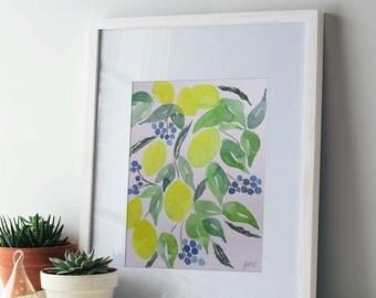 "8x10 Original Watercolor, Abstract Lemons & Berries, "" Limoncello"""