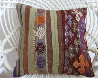 bohemian cushionoutdoor pillow decorative pillow case shabby chic pillow coussin kilim purple kilim pillow 16x16 embroider pillow cover 516