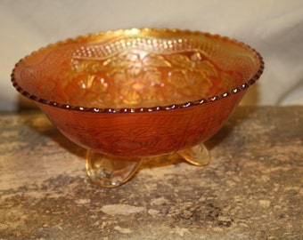 Fenton Carnival Two Flowers Marigold Bowl