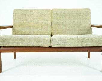 306-220 Danish Mid Century Modern Teak Framed Sofa Loveseat
