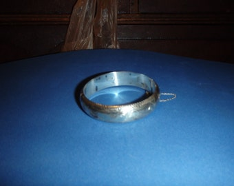 Sterling etched bangle,hinged,-ND 925,- vintage (price reduced)
