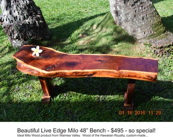 milo wood live edge bench
