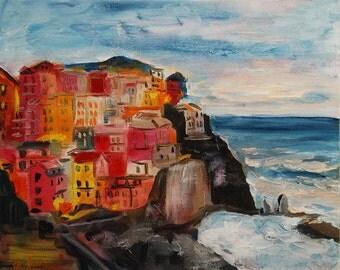 Original oil painting Portofino Italy, Sun setting, Mediterranean, holiday, tourism, Impressionist, Italian village