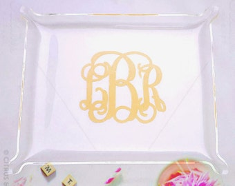 Monogrammed Acrylic tray, Jewelry dish, Trinket holder, vanity tray, Bridesmaid Gift, bathroom Acrylic tray,Monogrammed tray, christmas gift