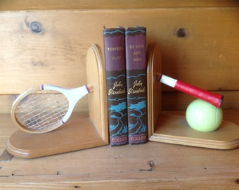 Mid-Century Wood Tennis Racket and Balls Bookends 1970s