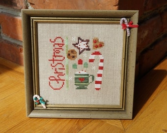 Finished Christmas Cross Stitch Wall Hanging, Decorative Frame, Christmas Treats, Candy Cane, Framed Cross Stitch, Holiday Cross Stitch