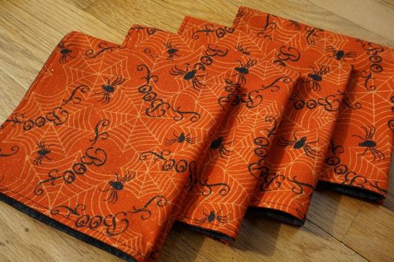 Halloween boo spider cloth napkins large reversible set of for Halloween cloth napkins