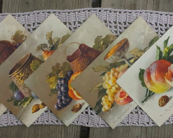 Lot 5 postcards with painted fruit vintage n4