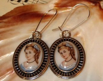 Antique Lady Rococo Baroque Sissy-cabochon, earrings, earrings, glass-cabochon from the 60-ies years of new Kidneyhaken and old cabochon