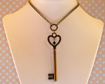 Secret Key bronze pendant necklace with chain