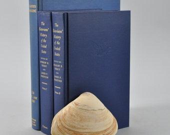 Book Bundle Set, Ocean Blue Vintage Books, Shelf Accent Decor